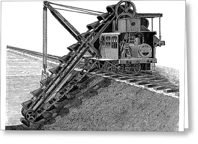 Steam-powered Excavator Greeting Card by Science Photo Library