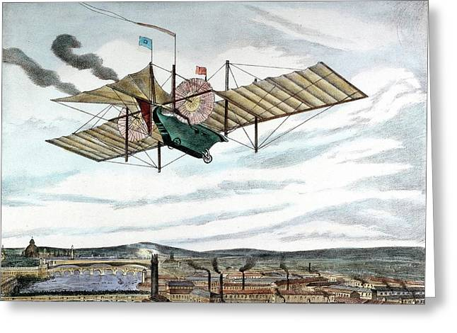 Steam-powered Flying Machine Greeting Card by Universal History Archive/uig