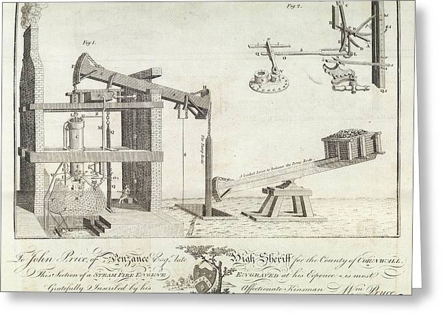 Steam-powered Mine Engine Greeting Card by Royal Institution Of Great Britain
