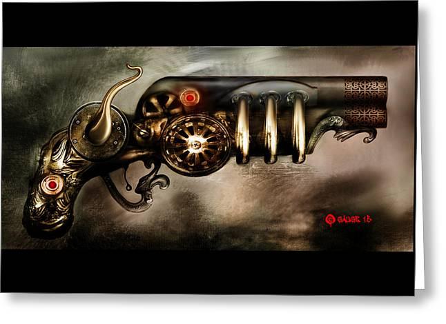 Steam Punk Pistol Mk II Greeting Card