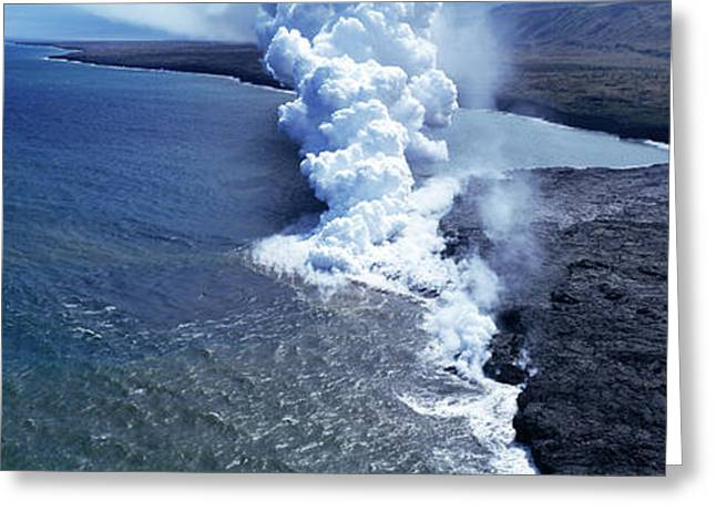 Steam Rising Off Lava Flowing Greeting Card by Panoramic Images