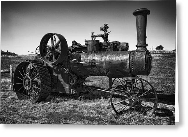 Steam Tractor Noir Greeting Card by Daniel Hagerman