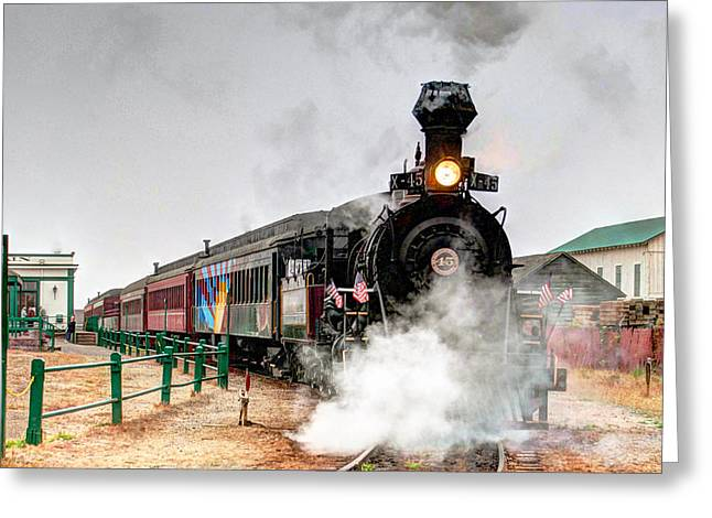 Greeting Card featuring the photograph Steam Train 45 by William Havle