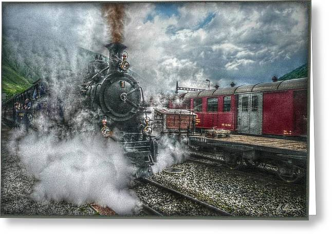 Greeting Card featuring the photograph Steam Train by Hanny Heim