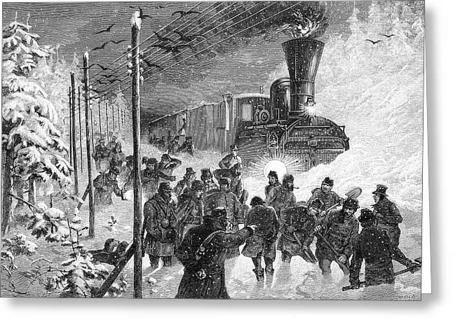 Steam Train In Snow Drift Greeting Card