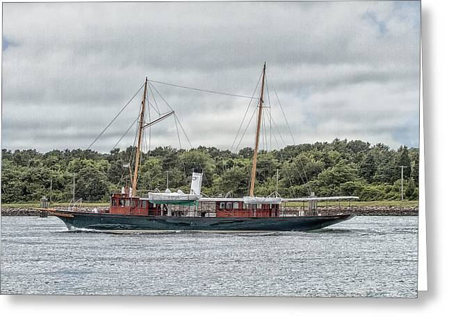 Steam Yacht Cangarda Greeting Card by Constantine Gregory