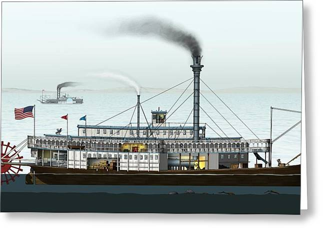 Steamboat, Artwork Greeting Card by Science Photo Library