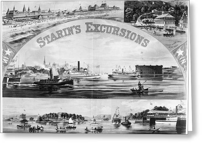 Steamboat Excursions, C1878 Greeting Card by Granger