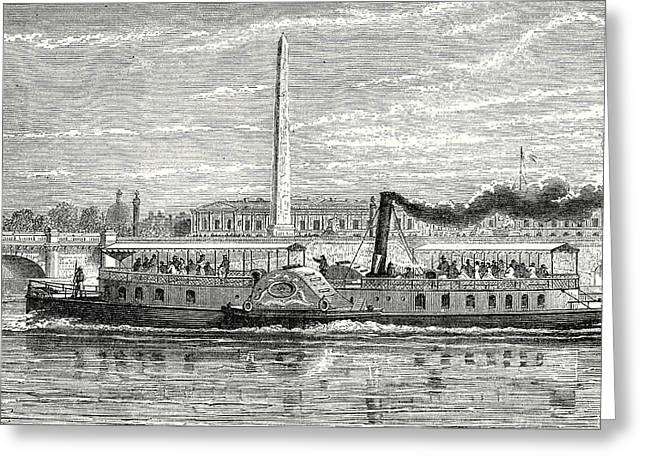Steamboat Intended To Serve As A Ferry Service On The Seine Greeting Card