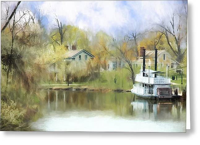 Steamboat Landing In The South Greeting Card by Ike Krieger