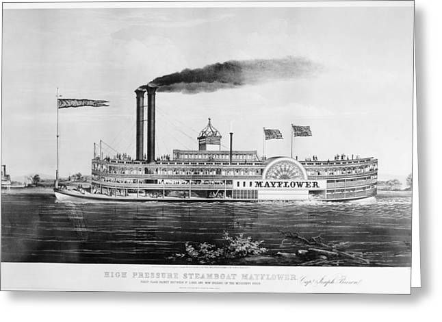 Steamboat 'mayflower Greeting Card by Granger