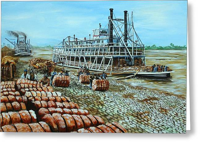 Steamboat Unloading Cotton In Memphis Greeting Card by Karl Wagner