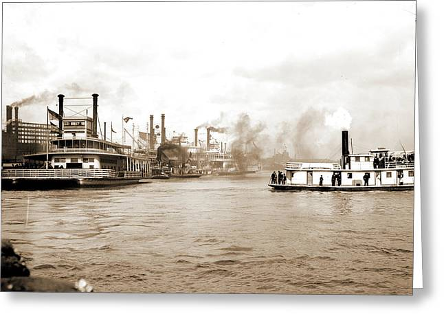 Steamboats Along The Levee, New Orleans, Rivers Greeting Card