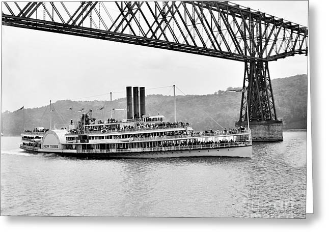 Steamer Albany Under Poughkeepsie Trestle Black And White Greeting Card