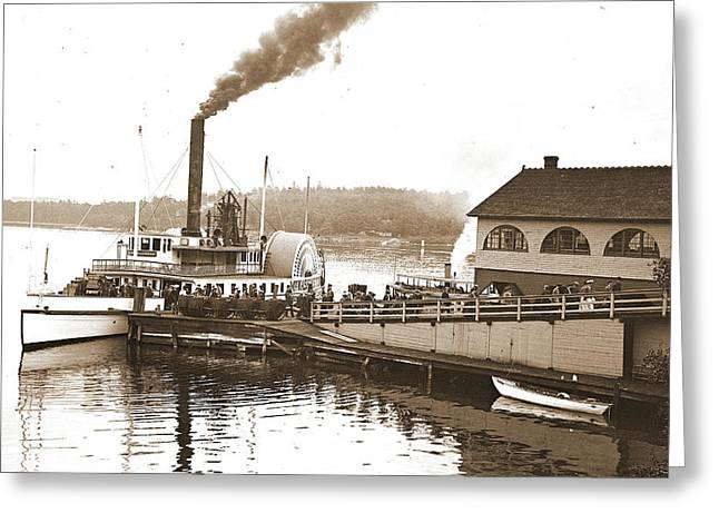 Steamer Mt. Washington At Dock, Weirs Greeting Card