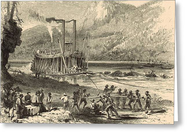 Steamer On The Tennessee Warped Through The Suck - 1872 Engraving Greeting Card by Antique Engravings