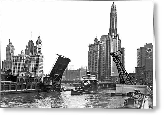 Steamer Towed On Chicago River Greeting Card by Underwood Archives