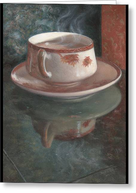 Steaming Tea In A Japanese Cup Greeting Card