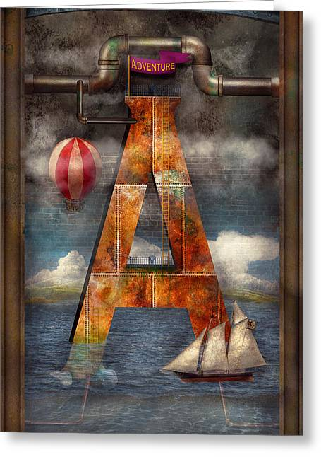 Steampunk - Alphabet - A Is For Adventure Greeting Card by Mike Savad
