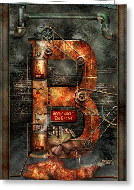Steampunk - Alphabet - B Is For Belts Greeting Card by Mike Savad