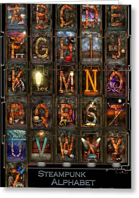 Steampunk - Alphabet - Complete Alphabet Greeting Card by Mike Savad