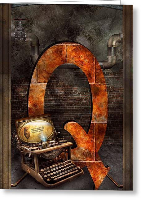 Steampunk - Alphabet - Q Is For Qwerty Greeting Card by Mike Savad