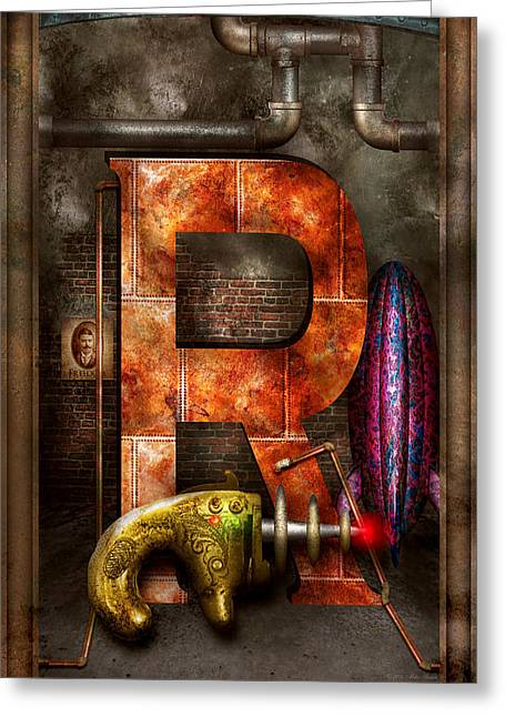 Steampunk - Alphabet - R Is For Ray Gun Greeting Card by Mike Savad