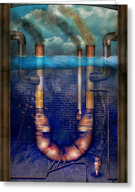 Steampunk - Alphabet - U Is For Underwater Utopia Greeting Card by Mike Savad