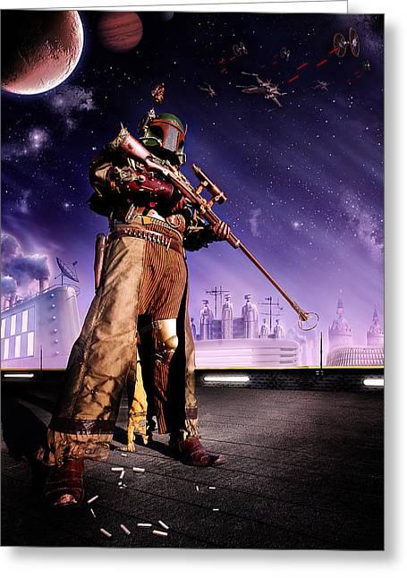 Steampunk Boba Fett Greeting Card by Cory Mcburnett