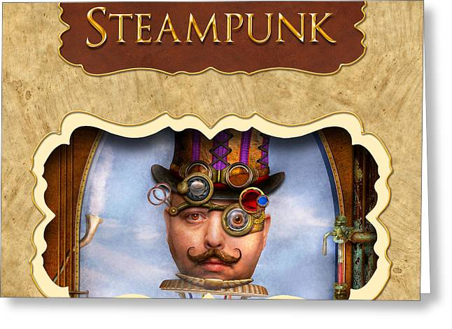 Steampunk Button Greeting Card by Mike Savad