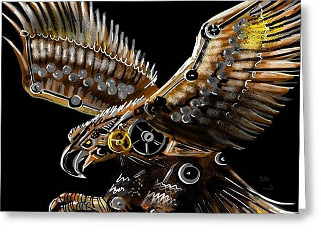 #steampunk #eagle #eagleds2 #bird Greeting Card by David Burles