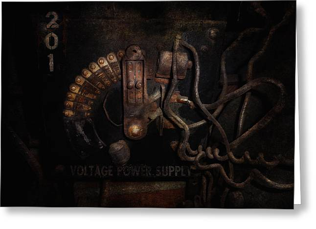 Steampunk - Electrical - Rotary Switch Greeting Card by Mike Savad