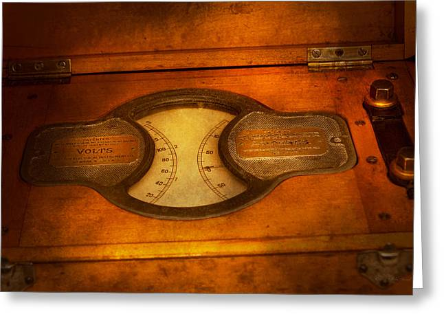 Steampunk - Electrician - The Portable Volt Meter Greeting Card by Mike Savad