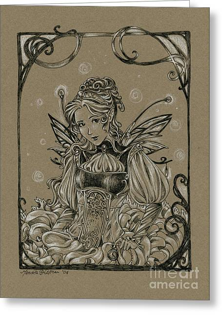 Steampunk Fairy Greeting Card by Meredith Dillman
