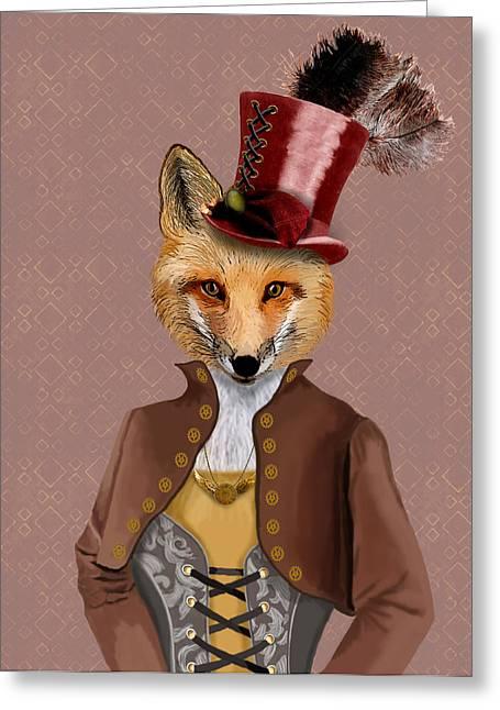 Steampunk Fox Vivienne Fox Greeting Card by Kelly McLaughlan