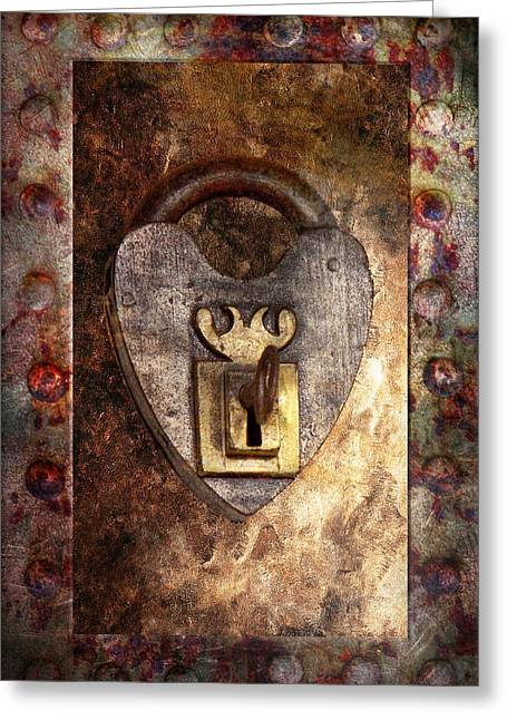 Steampunk - Locksmith - The Key To My Heart Greeting Card by Mike Savad