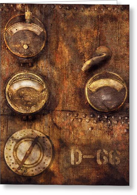 Steampunk - Meters D-66 Greeting Card by Mike Savad