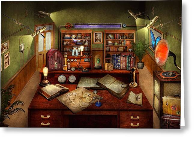 Steampunk - My Busy Study Greeting Card by Mike Savad
