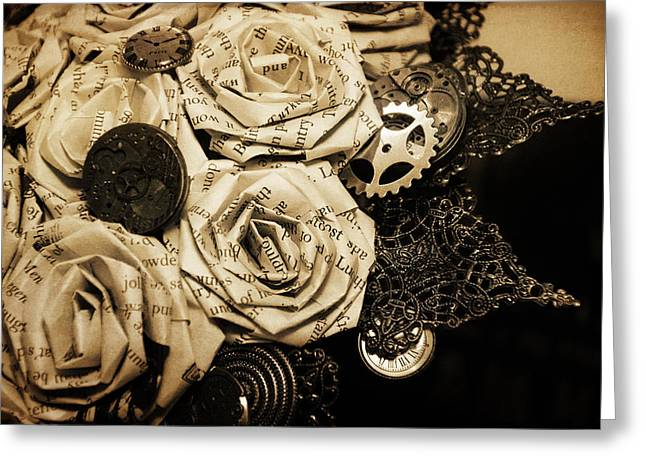 Steampunk Paper Roses Will Never Fade Greeting Card by Lisa Knechtel