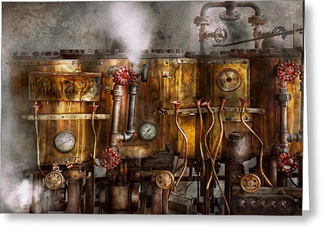 Steampunk - Plumbing - Distilation Apparatus  Greeting Card by Mike Savad