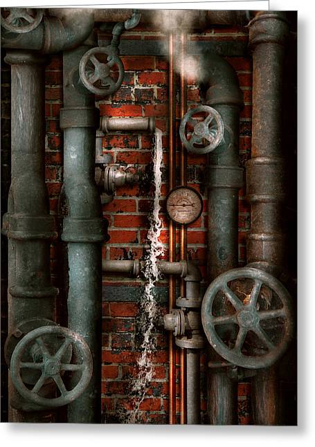 Steampunk - Plumbing - Pipes And Valves Greeting Card by Mike Savad