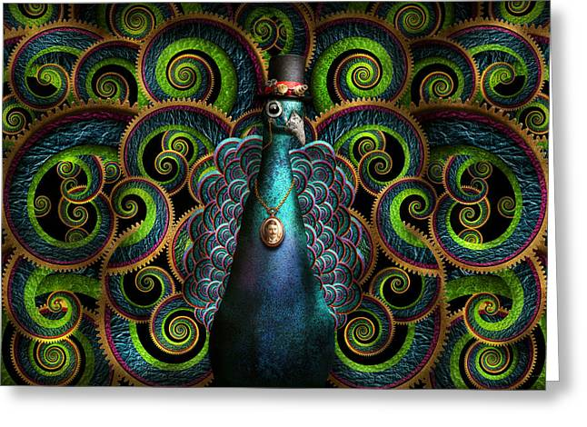 Steampunk - Pretty As A Peacock Greeting Card by Mike Savad