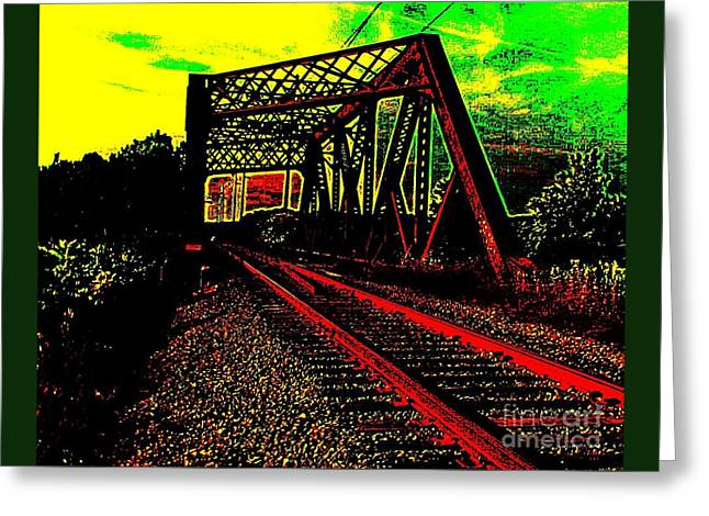 Steampunk Railroad Truss Bridge Greeting Card by Peter Gumaer Ogden