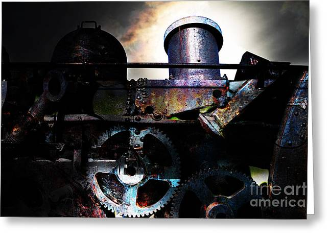 Steampunk Railway Transcontinental Line . Where Steam Is Still King Greeting Card