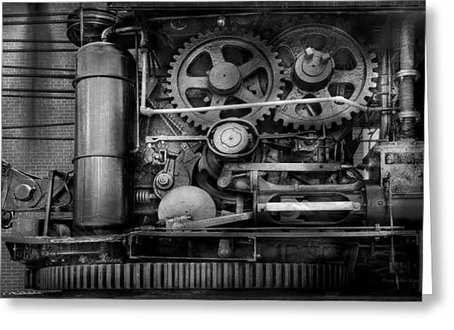 Steampunk - Serious Steel Greeting Card by Mike Savad