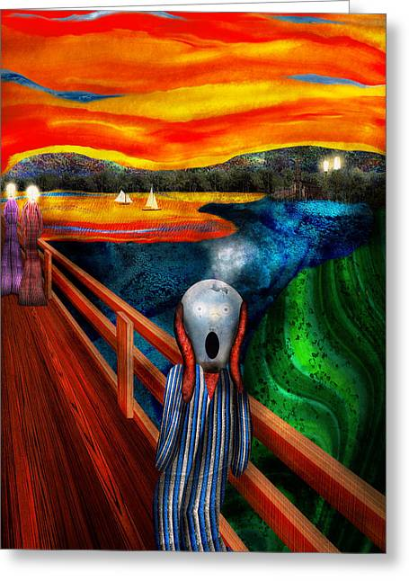 Steampunk - The Scream Greeting Card by Mike Savad