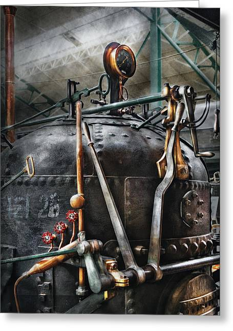 Steampunk - The Steam Engine Greeting Card by Mike Savad