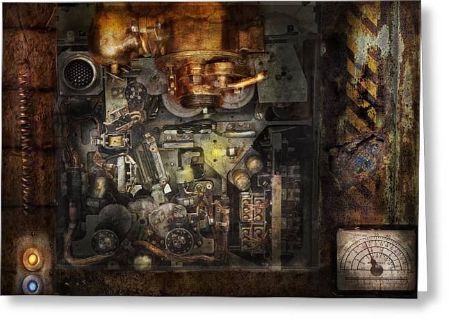 Steampunk - The Turret Computer  Greeting Card by Mike Savad