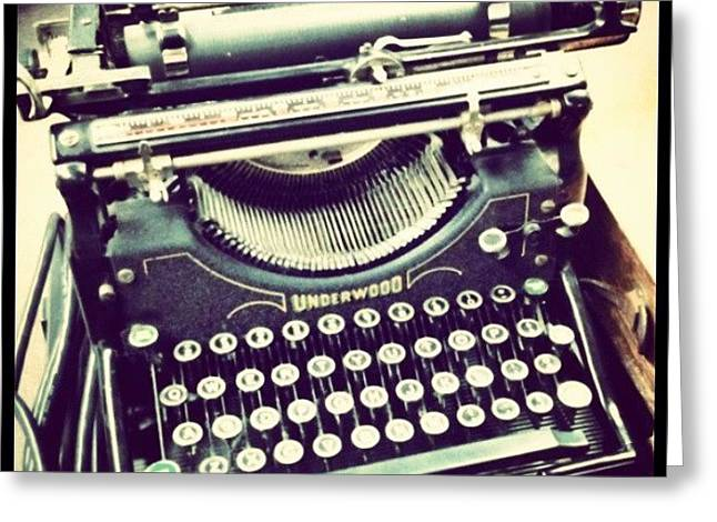 #steampunk #typewriter #writeshit Greeting Card by Devin Muylle