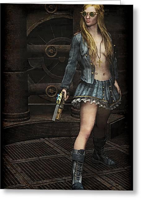 Steampunk Vixen Greeting Card by Maynard Ellis